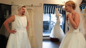 James Corden wedding dress