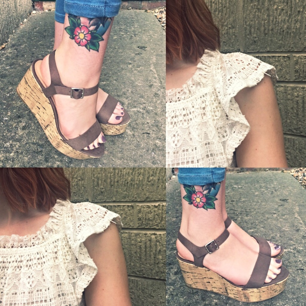Topshop Floral Shirt and New Look Wedges