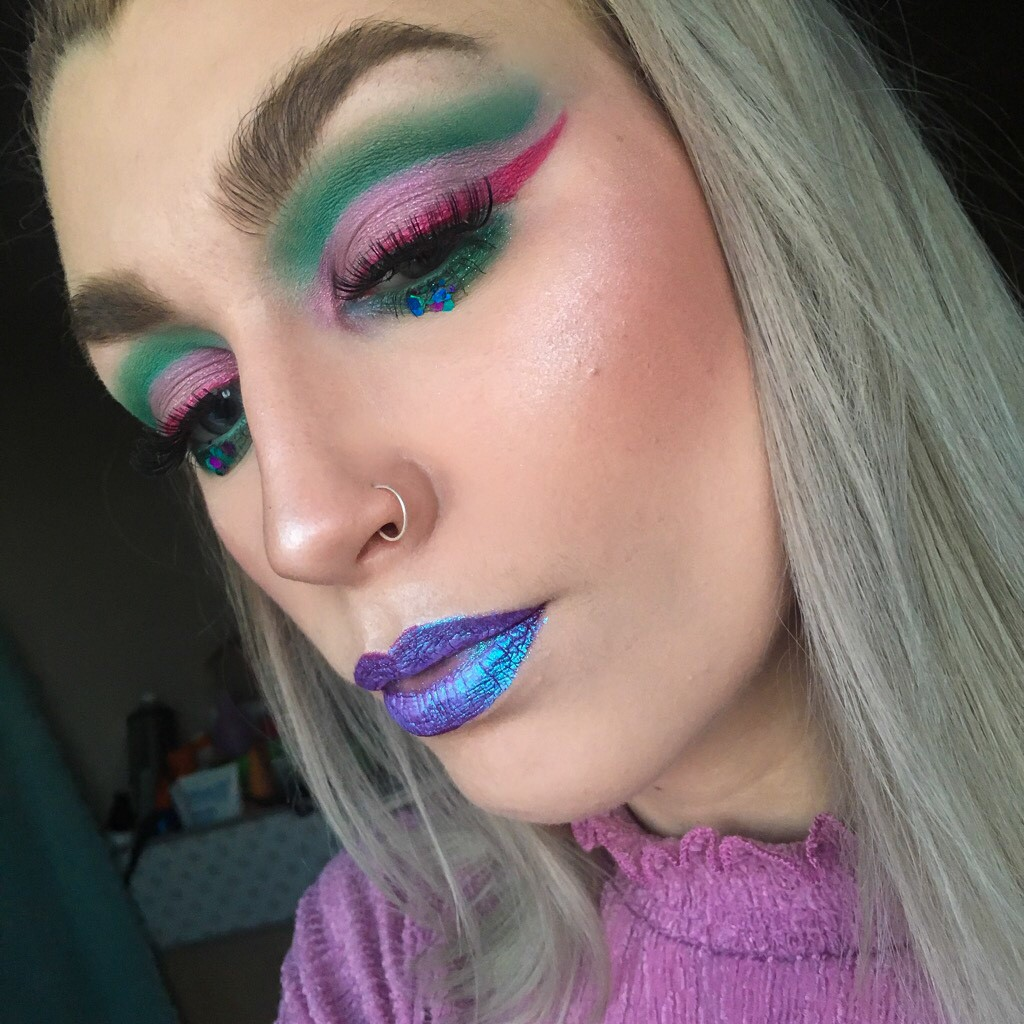 Unicorn makeup - Lime Crime Diamond Crushers and Tarte Blush Blushing Bride